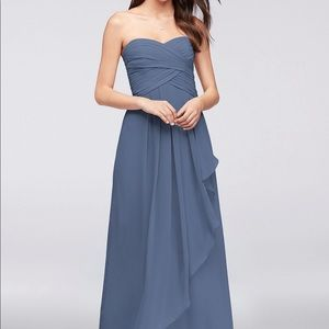 David's Bridal Strapless Chiffon Bridesmaid Dress